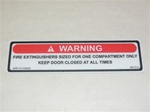 decal Warning, Fire extinguisher sizing