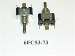 (ON)/OFF/(ON) Single Pole Momentary Chrome Toggle Switch. Carling Part # 6FC53-73. 3 Spade Terminals.