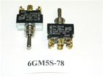 (ON)/OFF/(ON) Double Pole Momentary Chrome Toggle Switch. Carling Part # 6GM5S-78. 6 Screw Terminals.