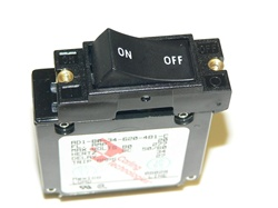 Carling circuit breaker, rocker style with white horizontal lettering